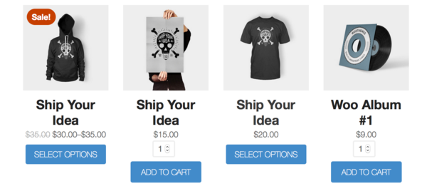 WooCommerce shop page with quantity inputs